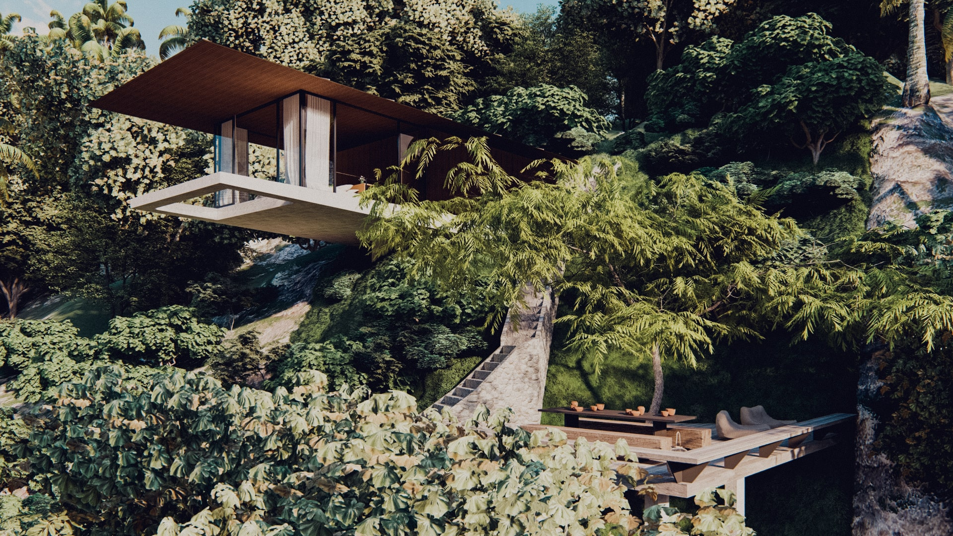One bedroom pavilion hanging of the cliff in ubud bali