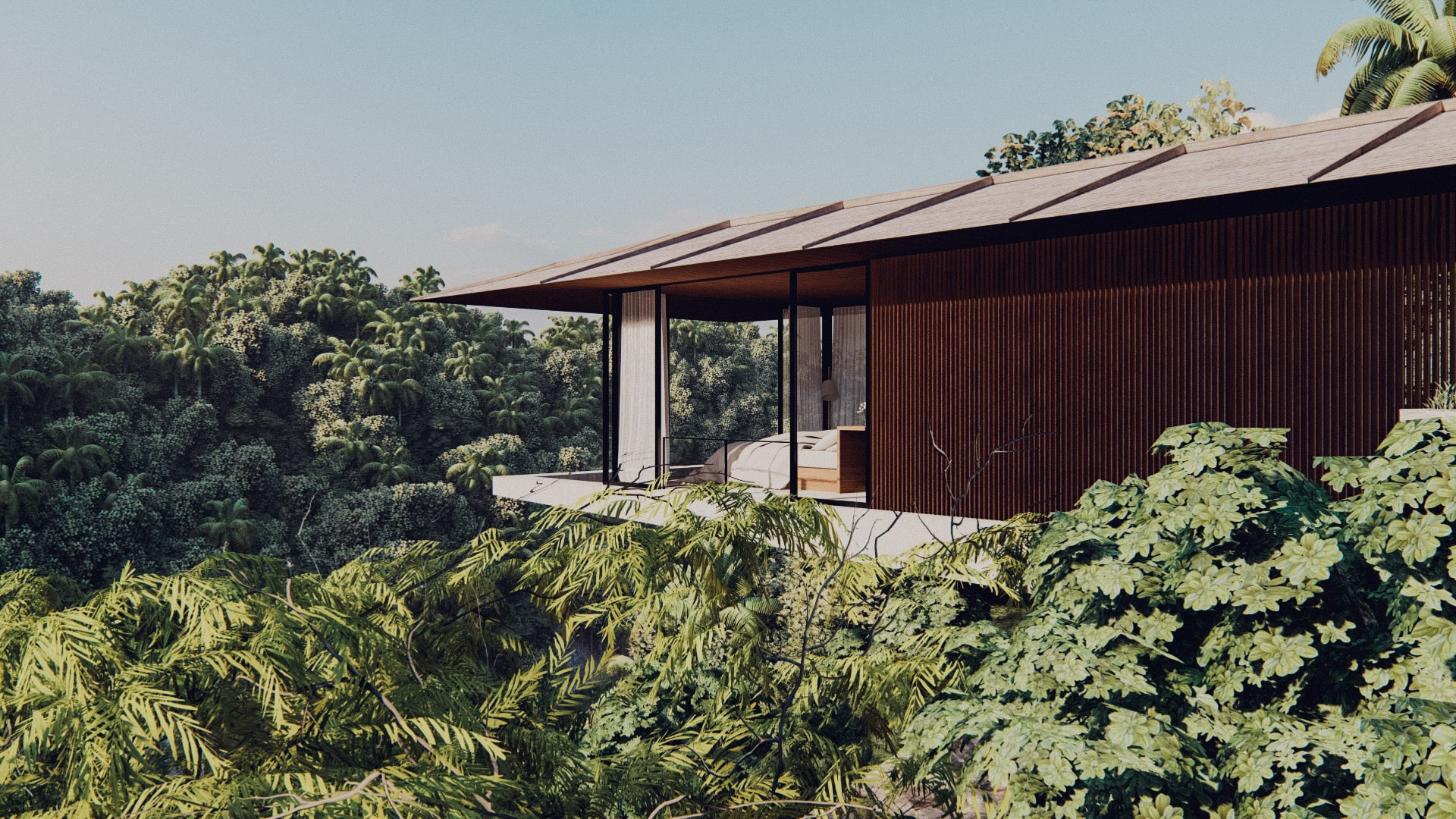 One bedroom pavilion hanging of the cliff in ubud bali side view