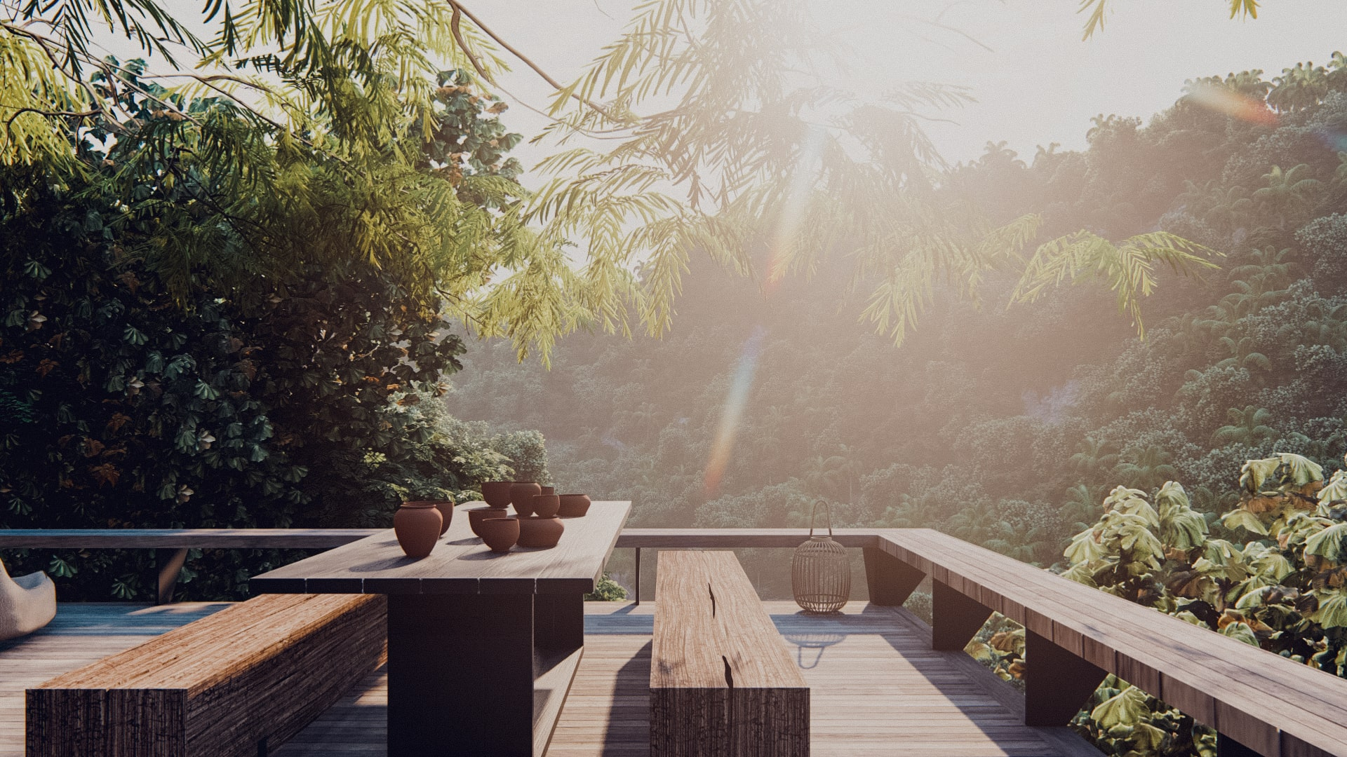 One bedroom pavilion hanging of the cliff in ubud bali deck