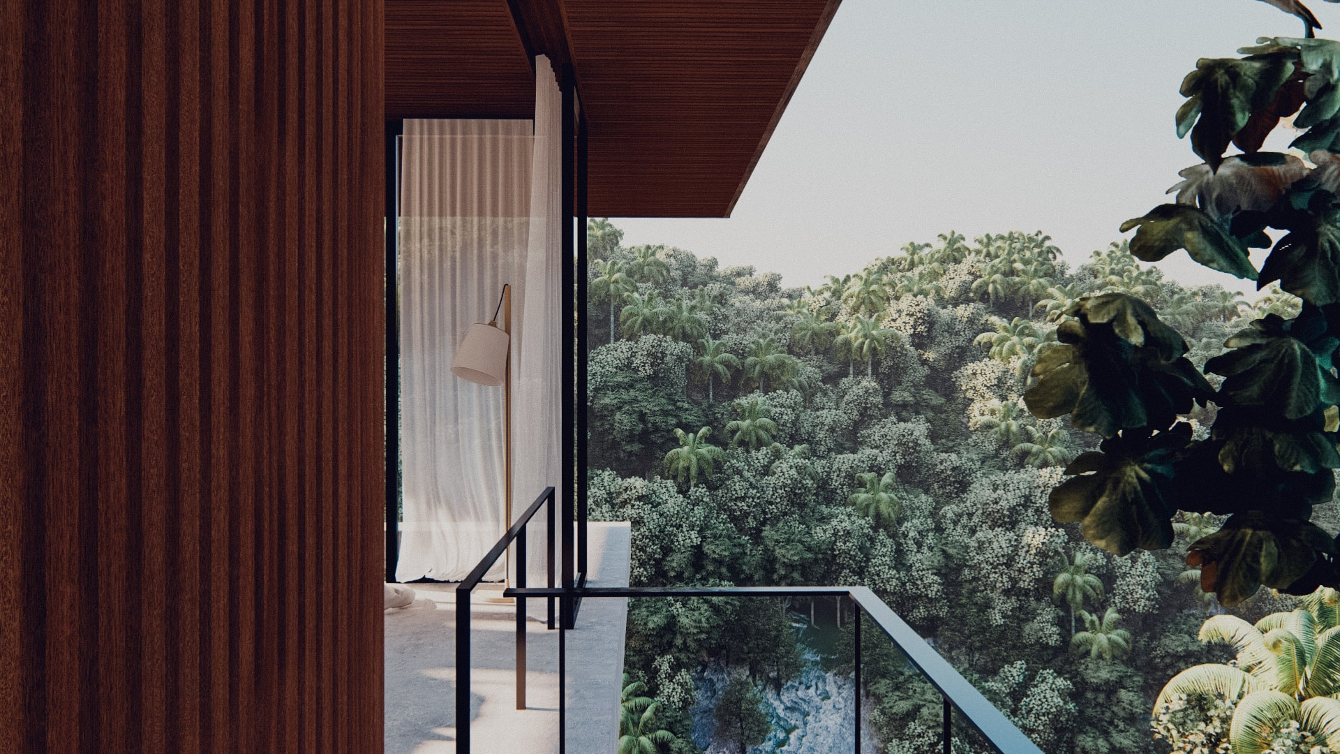 One bedroom pavilion hanging of the cliff in ubud bali approach