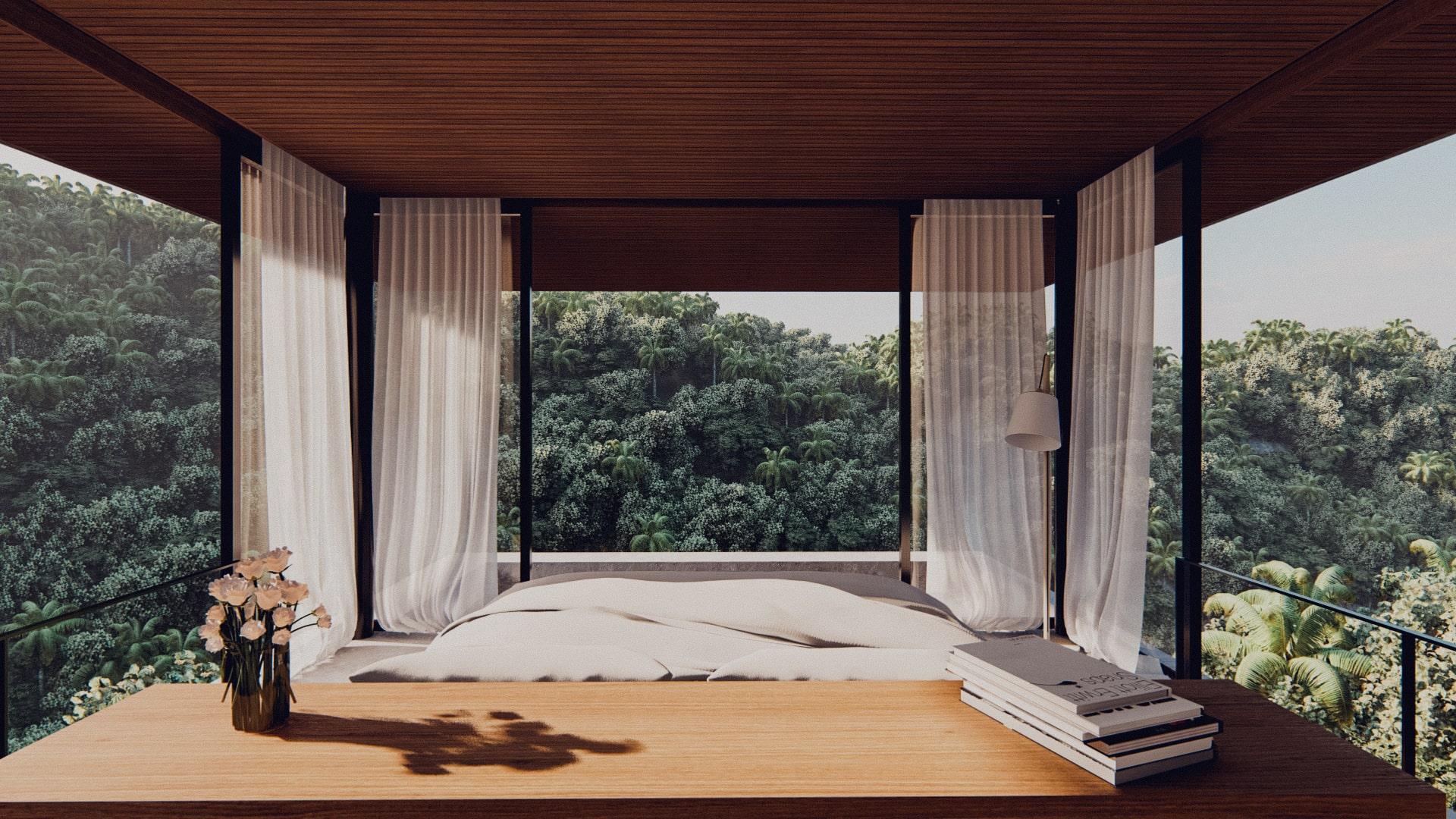 One bedroom pavilion hanging of the cliff in ubud bali bedroom