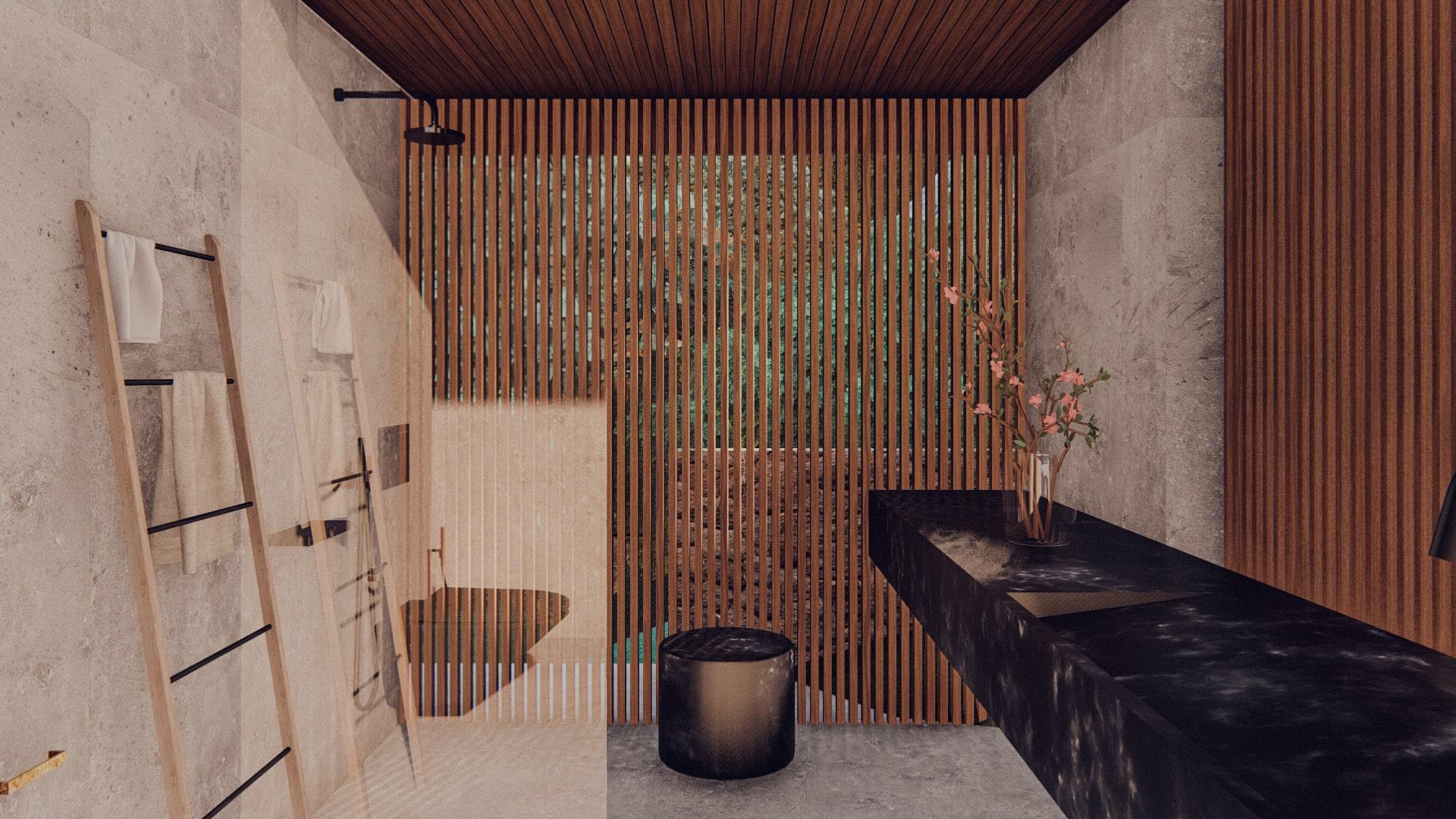 One bedroom pavilion hanging of the cliff in ubud bali bathroom