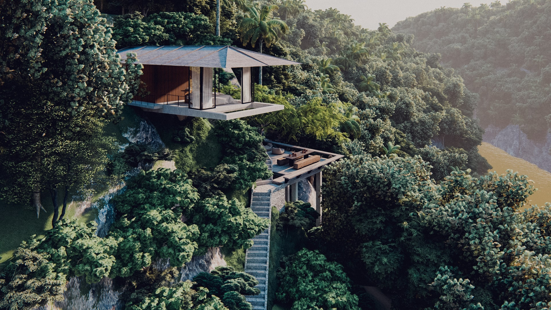 One bedroom pavilion hanging of the cliff in ubud bali aerial view