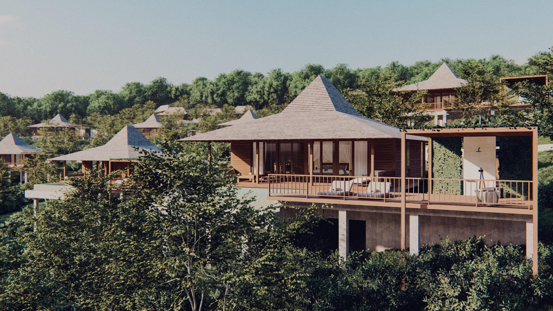 Eco Resort in Lombok Pool Villa Frontal Elevation