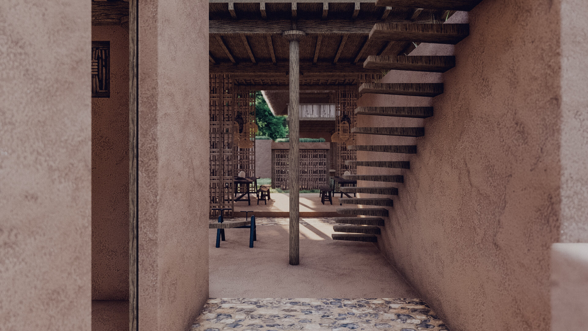 Rumah Besar Sembalun Lombok Architecture Corridor